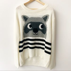 Rewind Sweater - Beige/Gray raccoon Sz M